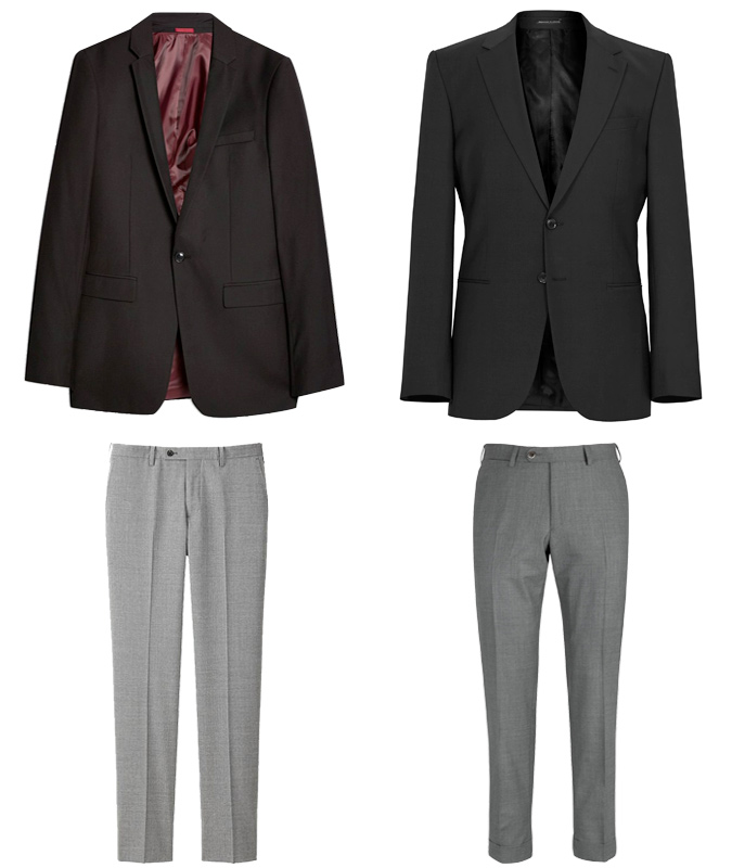 Black blazer and grey trousers outfits